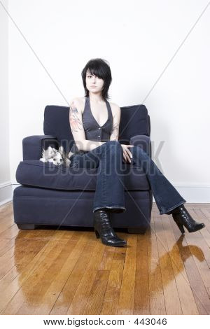Trendy Young Woman And Chihuahua