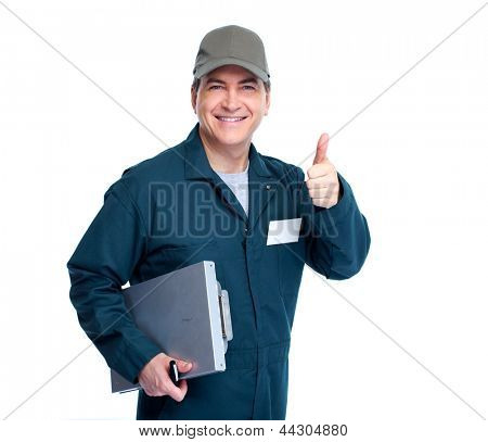 Professional Auto mechanic. Isolated on white background. poster