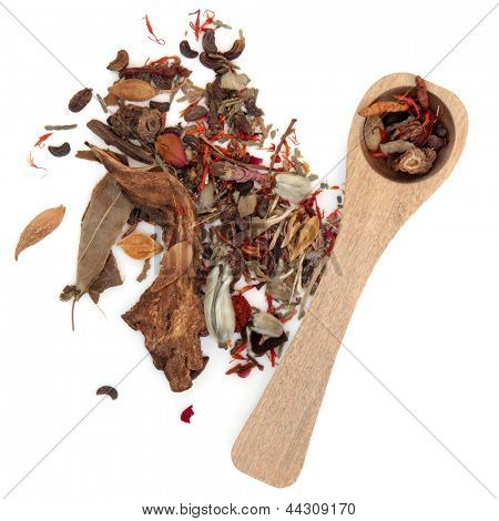 Chinese herbal medicine mixture with wooden spoon over white backgorund.