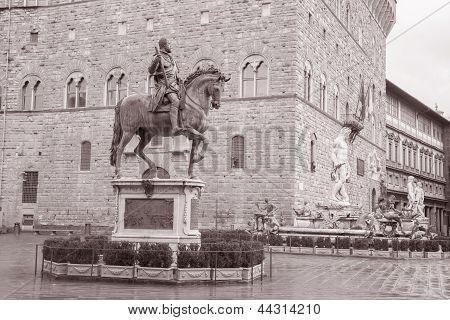Cosimo I De Medici Equestrian Statue By Giambologna And Neptune Fountain By Ammannati, Florence
