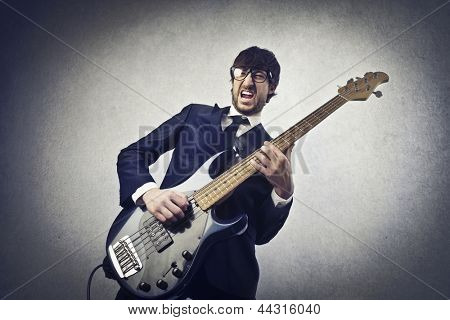 young musician playing bass