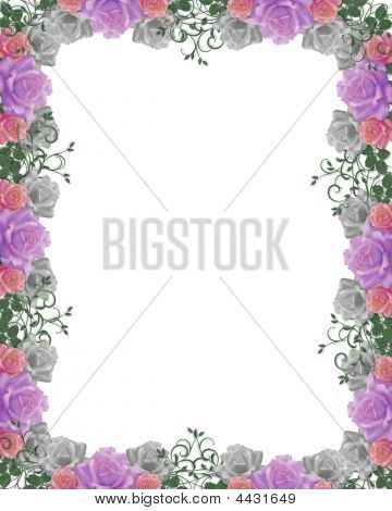 Roses Wedding Invitation Border Frame
