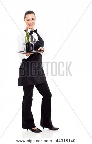 cute waitress holding a tray of wine and glass isolated on white