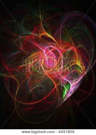 abstract colorful dance rays on dark background poster