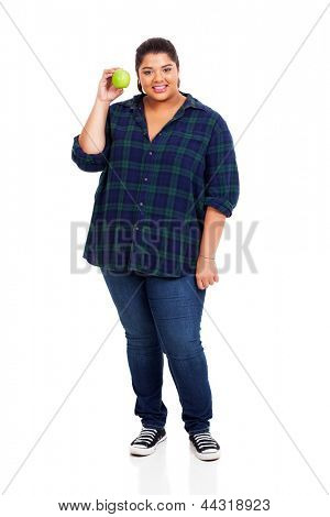 full length of smiling overweight woman holding green apple on white background