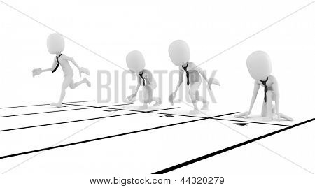 3d man businessman business competition concept, on white background