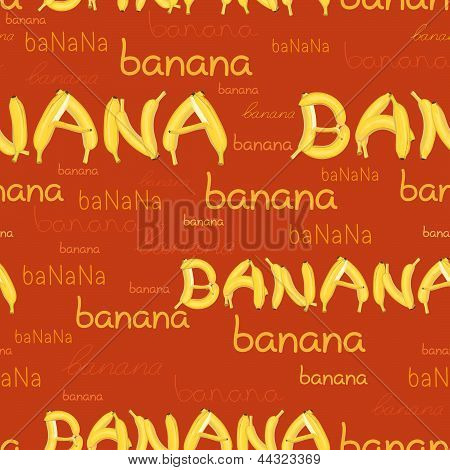 seamless pattern of bananas and letters wallpaper poster