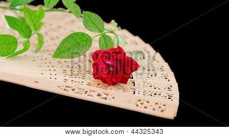 wooden folding fan and rose