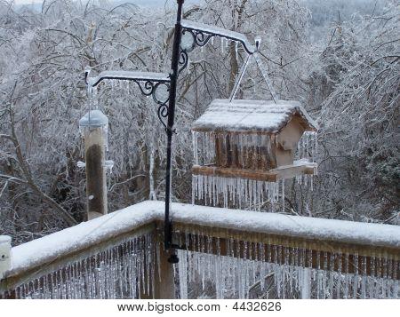 Ice On A Birdhouse