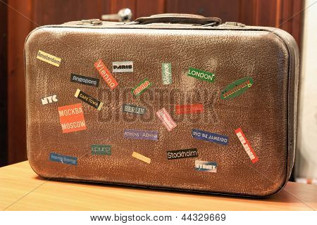 Country Tag Stickers On A Travel Suitcase