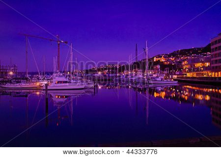 Wellington harbor at night