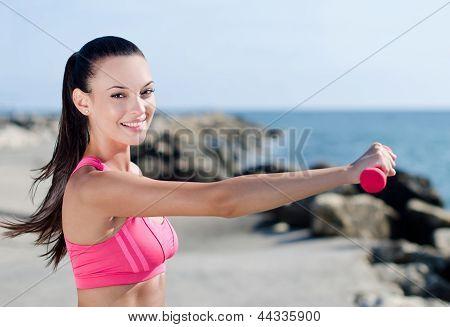 Beautiful girl doing sports