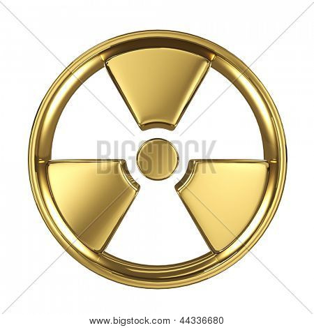Radiation symbol made of gold isolated on white