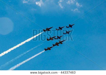 Aerobatic Team  flies in formation