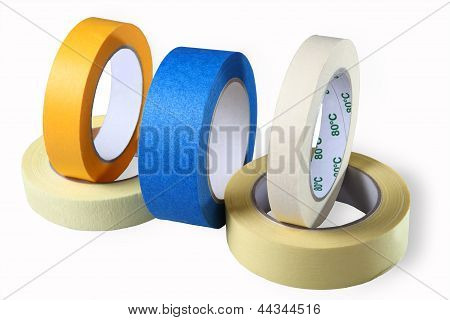 Sticky Tapes, Adhesive Tapes, Single Coated, Colored Tape- Paper, Yellow; White; Blue, Isolated Imag