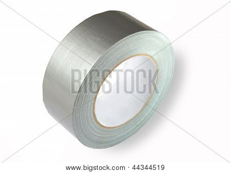 Water Proof Reinforced Adhesive Tpl Tape (duct), Gray Color With A Metallic Sheen, Isolated Image On