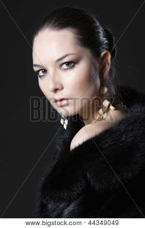 portrait of woman in fur coat