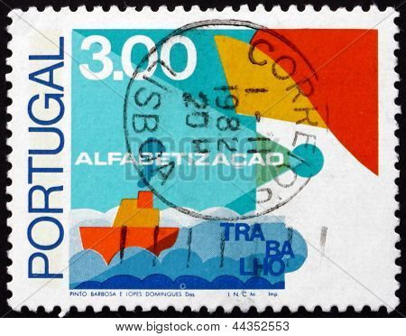 Postage Stamp Portugal 1976 Ship, Fight Against Illiteracy