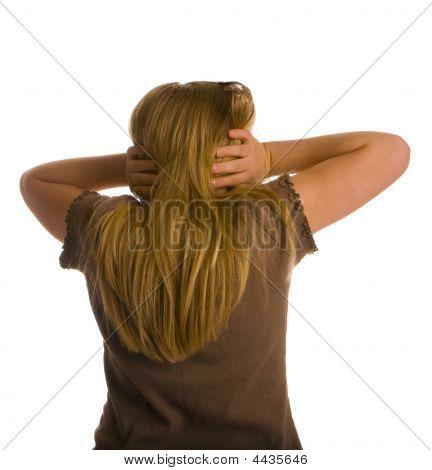 Girl Back Turned Ears Covered