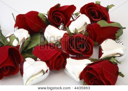 Silver Hearts With Roses