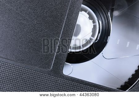 VHS Tape Macro Closeup, Large Detailed Black Retro Videotape Cassette Background Epmty Blank Vintage