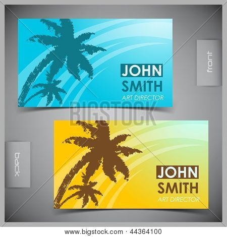 Vector abstract creative tourism business cards (set template)