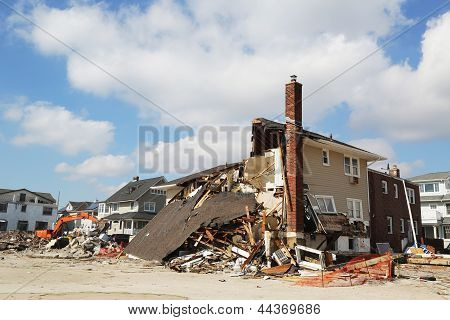 Destroyed beach house three months after  of Hurricane Sandy in Far Rockaway, NY