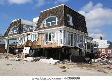 Destroyed beach house three months after Hurricane Sandy
