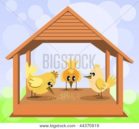 Bird house with birds on the bokeh background poster