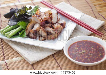 Roast pork thai style food