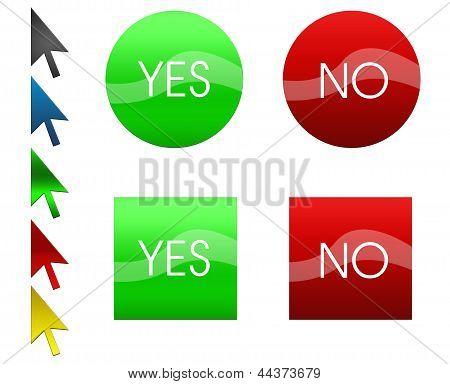 Set of green and red buttons and arrows