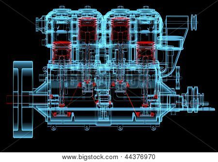 Internal Combustion Engine (3D Xray Red And Blue Transparent)