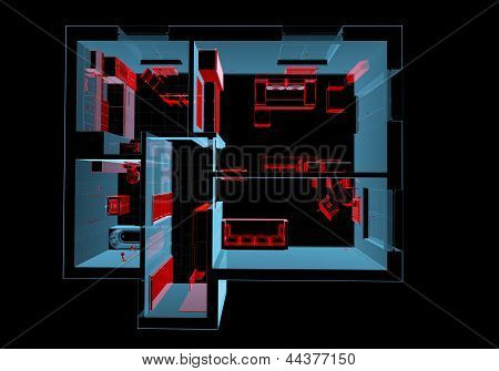 Equipped House (3D Xray Red And Blue Transparent)