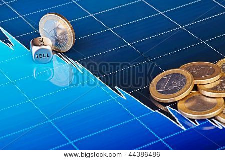 Dices Cube With The Word Sell, One Euro Coin Slides Down On Downtrend Chart. Selective Focus