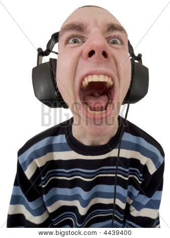 The Person In Ear-phones Shouting