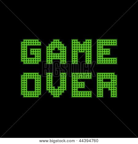 Game Over On A Green Grid Digital Display