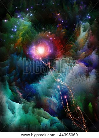 Never Worlds series. Abstract design made of colorful dimensional fractal worlds on the subject of fantasy dreams creativity imagination and art poster