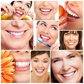 Beautiful woman smile and teeth collage. Dental health. poster