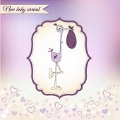 baby shower card with stork, illustration in vector format poster