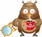 Early morning time - funny owl with cup of coffee and alarm clock in its hands poster