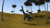 brachiosaurus on grassy hill poster