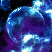 Abstract glowing blue nebula and planet space background. poster