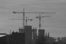 Construction crane and buildings