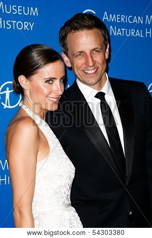 NEW YORK-NOV 21; Comedian Seth Meyers (R) and wife Alexi Ashe attend American Museum of Natural History's 2013 Museum Gala at American Museum of Natural History on November 21, 2013 in New York City.