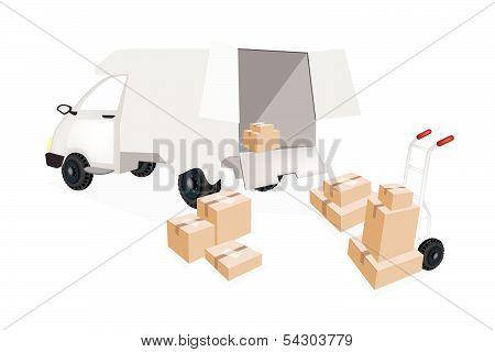 Hand Truck Loading Corrugated Cardboard Into A Mini Van