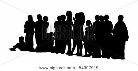 Large Group Of People Silhouettes Set 3