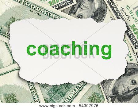 Education concept: Coaching on Money background