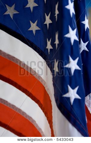 Portrait Closeup Of The Stars And Stripes Flag