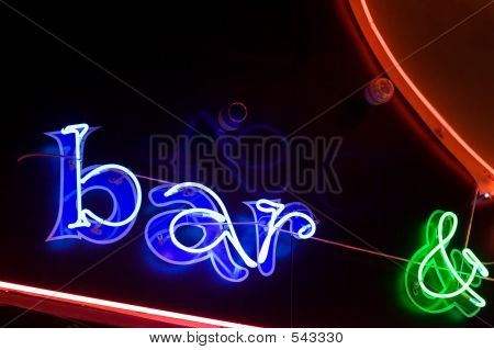 Neon Sign Bar And Other Elements