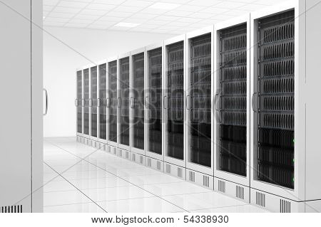 Datacenter With Two Rows Of Computers